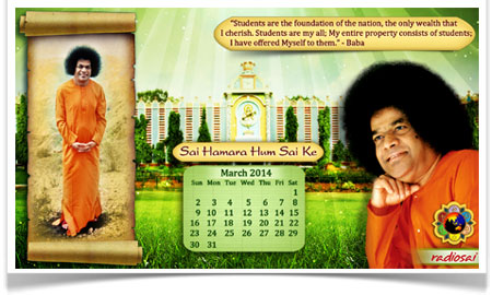 radiosai march calendar 2014